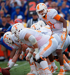 Tennessee Volunteers quarterback Joshua Dobbs directing the offense as the Gators come from behind late in the fourth quarter at home to beat the Tennessee Volunteers 28-27.  September 26th, 2015. Gator Country photo by David Bowie.