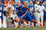 Florida Gators wide receiver Demarcus Robinson sprints downfield during the second half as the Gators come from behind late in the fourth quarter at home to beat the Tennessee Volunteers 28-27.  September 26th, 2015. Gator Country photo by David Bowie.