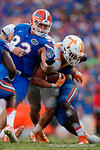 Tennessee Vols running back Jalen Hurd rushing the ball during the second half as the Gators come from behind late in the fourth quarter at home to beat the Tennessee Volunteers 28-27.  September 26th, 2015. Gator Country photo by David Bowie.