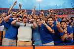 A lone Vols fan is surrounded by Gator fans as the Gators come from behind late in the fourth quarter at home to beat the Tennessee Volunteers 28-27.  September 26th, 2015. Gator Country photo by David Bowie.