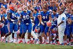 Florida Gators defensive lineman Jonathan Bullard celebrates a Gators defensive stop during the second half as the Gators come from behind late in the fourth quarter at home to beat the Tennessee Volunteers 28-27.  September 26th, 2015. Gator Country photo by David Bowie.