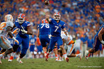 Florida Gators quarterback Will Grier throws on the run during the second half as the Gators come from behind late in the fourth quarter at home to beat the Tennessee Volunteers 28-27.  September 26th, 2015. Gator Country photo by David Bowie.