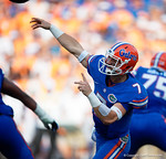 Florida Gators quarterback Will Grier throwing during the first half as the Gators come from behind late in the fourth quarter at home to beat the Tennessee Volunteers 28-27.  September 26th, 2015. Gator Country photo by David Bowie.