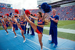 The Florida Gator cheerleaders perform for the crowd as the Gators come from behind late in the fourth quarter at home to beat the Tennessee Volunteers 28-27.  September 26th, 2015. Gator Country photo by David Bowie.