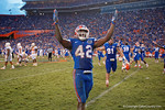 Florida Gators defensive back Keanu Neal and the Gators celebrate after the win as the Gators come from behind late in the fourth quarter at home to beat the Tennessee Volunteers 28-27.  September 26th, 2015. Gator Country photo by David Bowie.