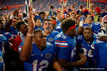 The Gators celebrate after the win as the Gators come from behind late in the fourth quarter at home to beat the Tennessee Volunteers 28-27.  September 26th, 2015. Gator Country photo by David Bowie.