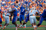 Florida Gators quarterback Will Grier throws downfield during  the first half as the Gators come from behind late in the fourth quarter at home to beat the Tennessee Volunteers 28-27.  September 26th, 2015. Gator Country photo by David Bowie.