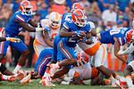 Florida Gators running back Kelvin Taylor gets the ball during the second half as the Gators come from behind late in the fourth quarter at home to beat the Tennessee Volunteers 28-27.  September 26th, 2015. Gator Country photo by David Bowie.