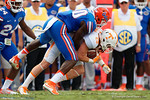 Florida Gators linebacker Jarrad Davis tackles Vols wide receiver Josh Smith during the first half as the Gators come from behind late in the fourth quarter at home to beat the Tennessee Volunteers 28-27.  September 26th, 2015. Gator Country photo by David Bowie.