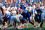 Florida Gators quarterback Will Grier at the line directing the offense as the Gators come from behind late in the fourth quarter at home to beat the Tennessee Volunteers 28-27.  September 26th, 2015. Gator Country photo by David Bowie.