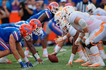 The Florida Gators defensive lione and Vols offensive line square off as the Gators come from behind late in the fourth quarter at home to beat the Tennessee Volunteers 28-27.  September 26th, 2015. Gator Country photo by David Bowie.