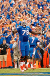 Florida Gators offensive lineman David Sharpe celebrates as the Gators go up 7-0 as the Gators come from behind late in the fourth quarter at home to beat the Tennessee Volunteers 28-27.  September 26th, 2015. Gator Country photo by David Bowie.