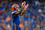 Florida Gators defensive back Vernon Hargreaves, III signals for the crowd to get pumped up during the second half as the Gators come from behind late in the fourth quarter at home to beat the Tennessee Volunteers 28-27.  September 26th, 2015. Gator Country photo by David Bowie.