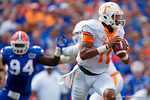 Tennessee Volunteers quarterback Joshua Dobbs rolls out during the first half as the Gators come from behind late in the fourth quarter at home to beat the Tennessee Volunteers 28-27.  September 26th, 2015. Gator Country photo by David Bowie.