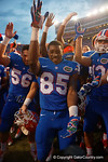 Florida Gators wide receiver Chris Thompson and the Gators celebrate after the win as the Gators come from behind late in the fourth quarter at home to beat the Tennessee Volunteers 28-27.  September 26th, 2015. Gator Country photo by David Bowie.
