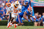 Florida Gators wide receiver Demarcus Robinson dives for the ball but is unable to come away with it during the second half as the Gators come from behind late in the fourth quarter at home to beat the Tennessee Volunteers 28-27.  September 26th, 2015. Gator Country photo by David Bowie.