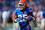 Florida Gators running back Jordan Scarlett running during pregame as the Gators come from behind late in the fourth quarter at home to beat the Tennessee Volunteers 28-27.  September 26th, 2015. Gator Country photo by David Bowie.