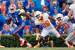 Florida Gators wide receiver Antonio Callaway sprints downfield following a catch during the second half as the Gators come from behind late in the fourth quarter at home to beat the Tennessee Volunteers 28-27.  September 26th, 2015. Gator Country photo by David Bowie.