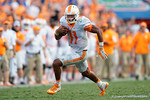 Tennessee Volunteers quarterback Joshua Dobbs races downfield during the second half as the Gators come from behind late in the fourth quarter at home to beat the Tennessee Volunteers 28-27.  September 26th, 2015. Gator Country photo by David Bowie.