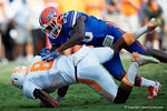 Florida Gators defensive back Marcus Maye tackles Vols wide receiver Marquez Northas the Gators come from behind late in the fourth quarter at home to beat the Tennessee Volunteers 28-27.  September 26th, 2015. Gator Country photo by David Bowie.