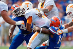 Florida Gators defensive end Alex McCalister sacks Vols quarterback Joshua Dobbs during the first half as the Gators come from behind late in the fourth quarter at home to beat the Tennessee Volunteers 28-27.  September 26th, 2015. Gator Country photo by David Bowie.