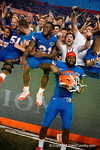 Florida Gators running back Kelvin Taylor and Florida Gators wide receiver Latroy Pittman celebrate with the fans after the win as the Gators come from behind late in the fourth quarter at home to beat the Tennessee Volunteers 28-27.  September 26th, 2015. Gator Country photo by David Bowie.