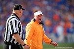 Tennessee Volunteers head coach Butch Jones has some word for an official as the Gators come from behind late in the fourth quarter at home to beat the Tennessee Volunteers 28-27.  September 26th, 2015. Gator Country photo by David Bowie.
