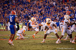 Tennessee Volunteers kicker Aaron Medley misses a 55 yard field goal that would've won the game as time expires as the Gators come from behind late in the fourth quarter at home to beat the Tennessee Volunteers 28-27.  September 26th, 2015. Gator Country photo by David Bowie.