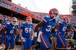 Florida Gators running back Jordan Cronkrite and the Gators take the field as the Gators come from behind late in the fourth quarter at home to beat the Tennessee Volunteers 28-27.  September 26th, 2015. Gator Country photo by David Bowie.
