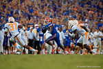 Florida Gators wide receiver Antonio Callaway takes the ball 63 yards to score the winning touchdown to beat the Tennessee Volunteers 28-27.  September 26th, 2015. Gator Country photo by David Bowie.