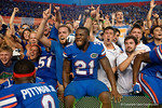 Florida Gators running back Kelvin Taylor jumps into the crowd in celebration after the win as the Gators come from behind late in the fourth quarter at home to beat the Tennessee Volunteers 28-27.  September 26th, 2015. Gator Country photo by David Bowie.