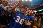 Florida Gators wide reveiver Roger Dixon and the Gators celebrate after the win as the Gators come from behind late in the fourth quarter at home to beat the Tennessee Volunteers 28-27.  September 26th, 2015. Gator Country photo by David Bowie.
