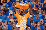 A lone Tennessee fan cheers for his team as the Gators come from behind late in the fourth quarter at home to beat the Tennessee Volunteers 28-27.  September 26th, 2015. Gator Country photo by David Bowie.