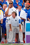 Florida Gators head coach Jim McElwain watches on from the sideline as the Gators come from behind late in the fourth quarter at home to beat the Tennessee Volunteers 28-27.  September 26th, 2015. Gator Country photo by David Bowie.