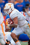 Tennessee Volunteers running back Jalen Hurd rushing in the first half as the Gators come from behind late in the fourth quarter at home to beat the Tennessee Volunteers 28-27.  September 26th, 2015. Gator Country photo by David Bowie.