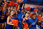 Florida Gators defensive back Vernon Hargreaves, III and Florida Gators wide receiver Demarcus Robinson celebrate with the Gator cheerleaders as the Gators come from behind late in the fourth quarter at home to beat the Tennessee Volunteers 28-27.  September 26th, 2015. Gator Country photo by David Bowie.