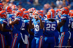 The Florida Gators huddle together during pregame as the Gators come from behind late in the fourth quarter at home to beat the Tennessee Volunteers 28-27.  September 26th, 2015. Gator Country photo by David Bowie.