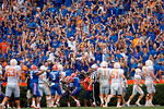 Fans celebrate a fumble return that was called back during the second half as the Gators come from behind late in the fourth quarter at home to beat the Tennessee Volunteers 28-27.  September 26th, 2015. Gator Country photo by David Bowie.