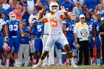 Tennessee Vols wide receiver Jauan Jennings throws back downfield on a trick play that ties the game 7-7 as the Gators come from behind late in the fourth quarter at home to beat the Tennessee Volunteers 28-27.  September 26th, 2015. Gator Country photo by David Bowie.