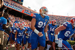 Florida Gators defensive lineman Joey Ivie and the Gators take the field as the Gators come from behind late in the fourth quarter at home to beat the Tennessee Volunteers 28-27.  September 26th, 2015. Gator Country photo by David Bowie.