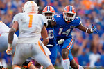 Florida Gators defensive end Alex McCalister rushing in for the tackle during the second half as the Gators come from behind late in the fourth quarter at home to beat the Tennessee Volunteers 28-27.  September 26th, 2015. Gator Country photo by David Bowie.