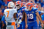 Florida Gators defensive back Marcell Harris and Tennessee Volunteer DB Cameron Sutton exchange words as the Gators come from behind late in the fourth quarter at home to beat the Tennessee Volunteers 28-27.  September 26th, 2015. Gator Country photo by David Bowie.