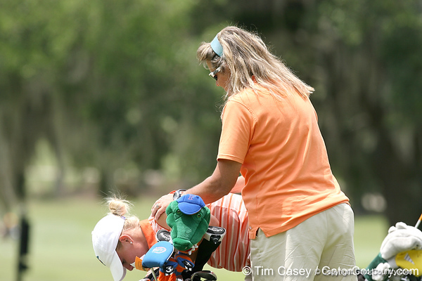 Florida sophomore Jessica Yadloczky gets consoled by coach Jill Briles-Hinton on the 9th hole after the first round of the NCAA Women's Golf East Regional on Thursday, May 7, 2009 at the Mark Bostick Golf Course in Gainesville, Fla. / Gator Country photo by Tim Casey
