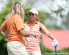 Florida coach Jill Briles-Hinton talks with Lauren Uzelatz during the first round of the NCAA Women's Golf East Regional on Thursday, May 7, 2009 at the Mark Bostick Golf Course in Gainesville, Fla. / Gator Country photo by Tim Casey