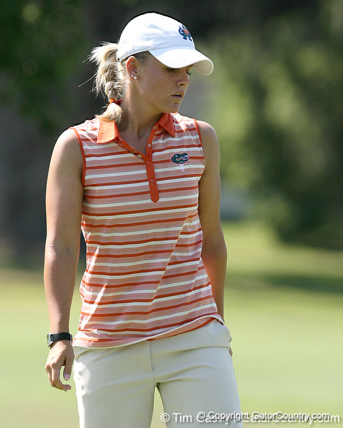Florida sophomore Jessica Yadloczky watches a putt on the 18th hole during the first round of the NCAA Women's Golf East Regional on Thursday, May 7, 2009 at the Mark Bostick Golf Course in Gainesville, Fla. / Gator Country photo by Tim Casey