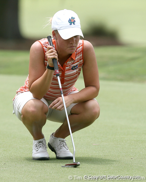 Florida sophomore Jessica Yadloczky prepares to putt on the 9th hole during the first round of the NCAA Women's Golf East Regional on Thursday, May 7, 2009 at the Mark Bostick Golf Course in Gainesville, Fla. / Gator Country photo by Tim Casey