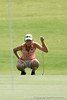 Florida sophomore Lauren Uzelatz lines up a putt during the first round of the NCAA Women's Golf East Regional on Thursday, May 7, 2009 at the Mark Bostick Golf Course in Gainesville, Fla. / Gator Country photo by Tim Casey