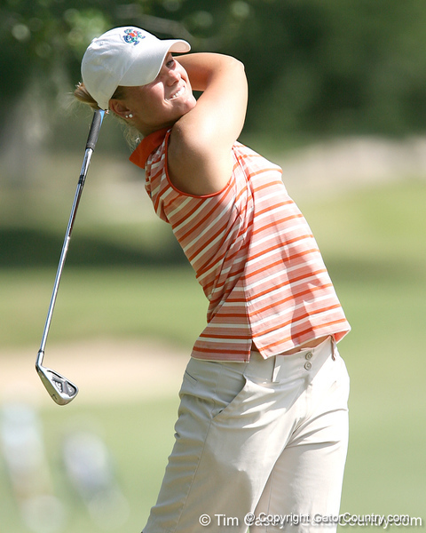 Florida sophomore Jessica Yadloczky hits a tee shot during the first round of the NCAA Women's Golf East Regional on Thursday, May 7, 2009 at the Mark Bostick Golf Course in Gainesville, Fla. / Gator Country photo by Tim Casey