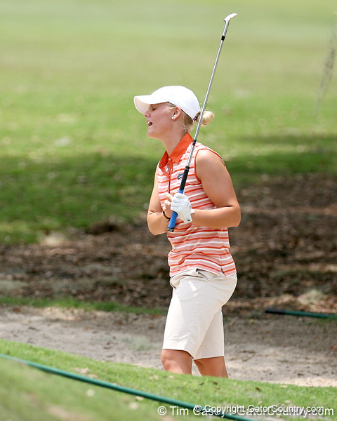 Florida sophomore Jessica Yadloczky reacts after hitting out of a greenside bunker on the 9th hole during the first round of the NCAA Women's Golf East Regional on Thursday, May 7, 2009 at the Mark Bostick Golf Course in Gainesville, Fla. / Gator Country photo by Tim Casey