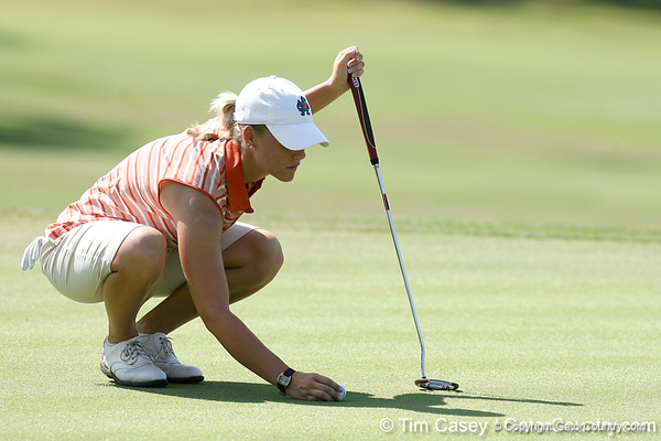 Florida sophomore Jessica Yadloczky lines up a putt during the first round of the NCAA Women's Golf East Regional on Thursday, May 7, 2009 at the Mark Bostick Golf Course in Gainesville, Fla. / Gator Country photo by Tim Casey
